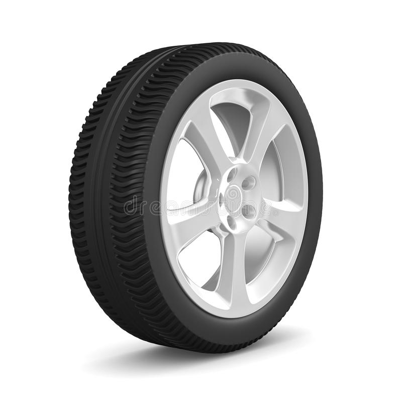 Het wiel van de schijf op witte achtergrond. Geïsoleerdea 3D vector illustratie