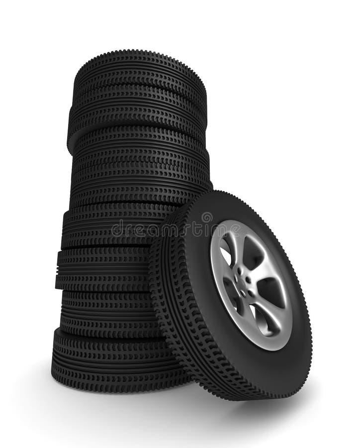 Het wiel van de schijf op witte achtergrond Geïsoleerdea 3D vector illustratie