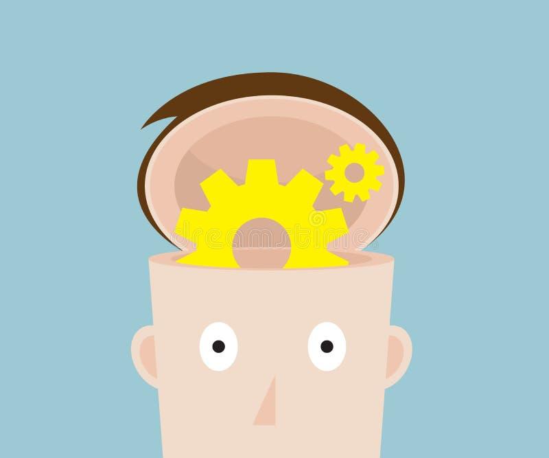 Het wiel van het radertjetoestel in menselijk hoofd stock illustratie