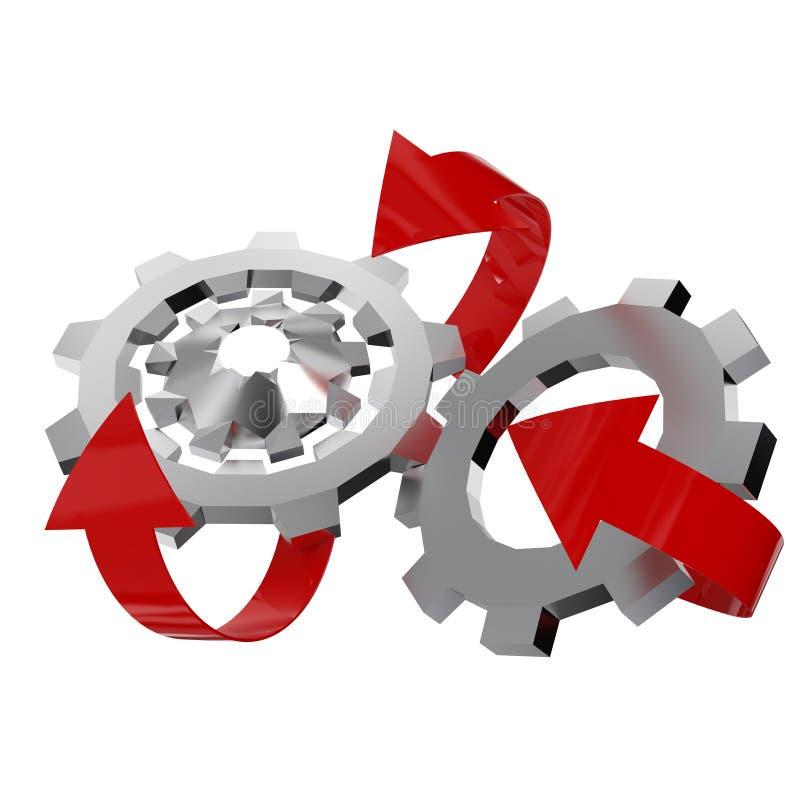Het wiel van het staaltoestel met pijlen stock illustratie