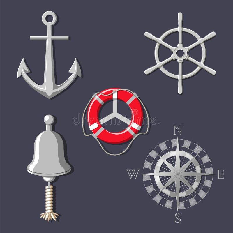 Het wiel van het metaalschip ` s, bootklok, windroos, anker en reddingsboei vector illustratie