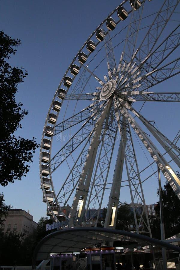 Het wiel van het oogferris van Boedapest op de lenteavond stock foto