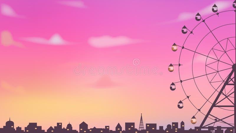 Het wiel van silhouetferris in de stad stock illustratie