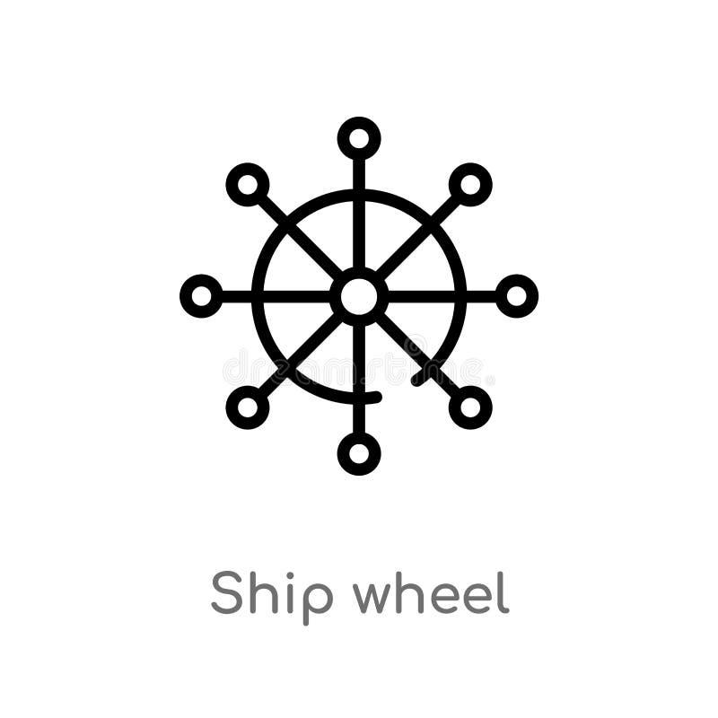 het wiel vectorpictogram van het overzichtsschip de ge?soleerde zwarte eenvoudige illustratie van het lijnelement van vervoerconc vector illustratie