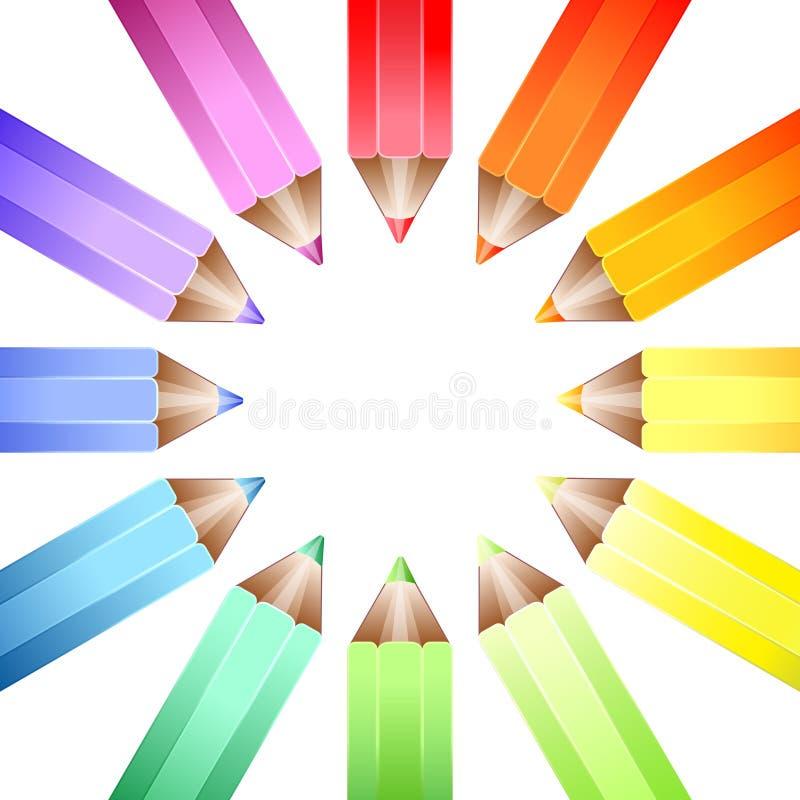 Het wielpotloden van de kleur stock illustratie