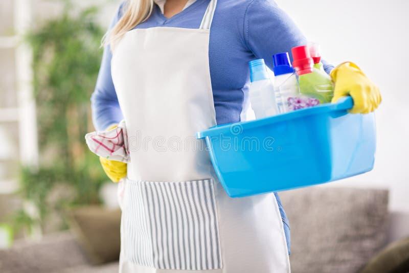Het wijfje bereidt chemische producten voor het schoonmaken van huis voor stock fotografie