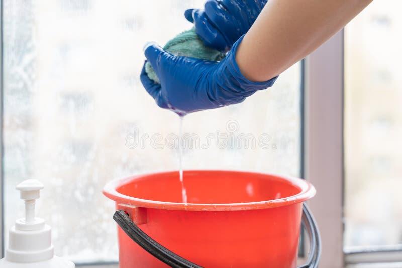 Het wijfje dient blauwe handschoenen in die venster schoonmaken stock fotografie
