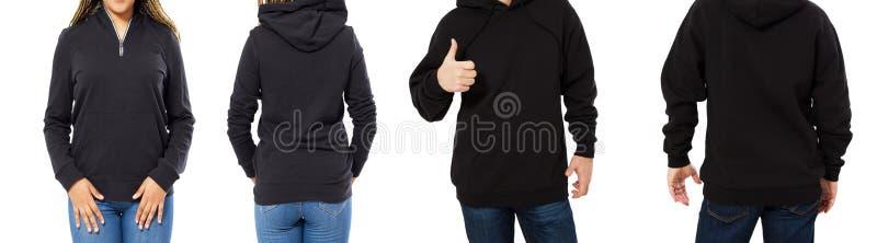 Het wijfje en het mannetje hoodie bespotten omhoog geïsoleerd - kap vastgestelde voor en achtermening, meisje en mens in lege zwa royalty-vrije stock afbeeldingen