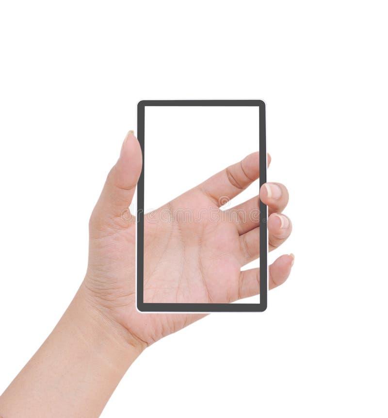 Het wijfje van de hand om kaart, mobiele telefoon te houden royalty-vrije stock foto