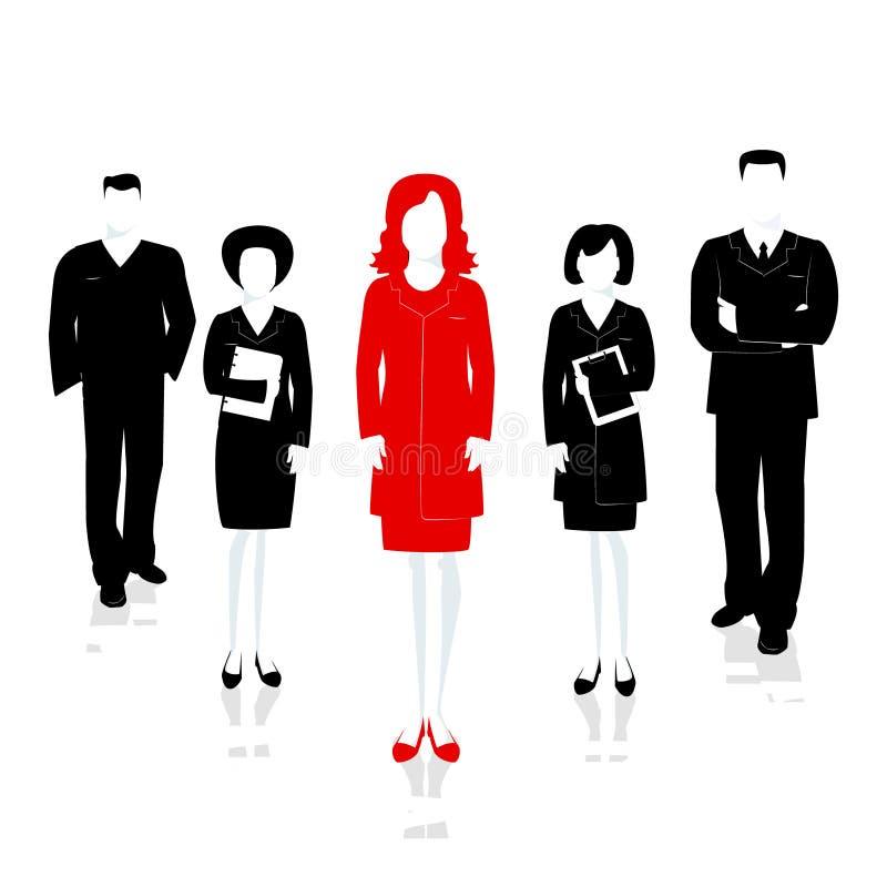 Het wijfje van de teamleider Het succesvolle team leidde door de leider Vecto royalty-vrije illustratie