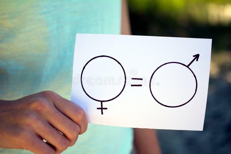 Het wijfje van geslachtsverschillen en een mannelijk symbool stock foto