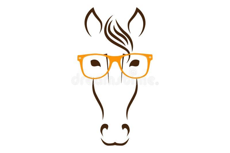 Het wijze silhouet van het paardhoofd met oranje glazen Dierlijk gezicht in glazen vector illustratie