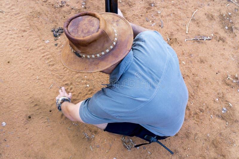 Het wildboswachter die dierlijke sporen verklaren royalty-vrije stock foto's