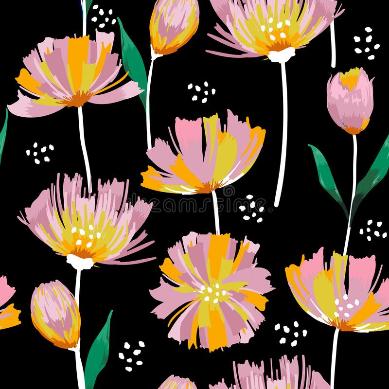 Het in Wilde bloeiende naadloze patroon van de bloemtulp r in een hand D royalty-vrije illustratie