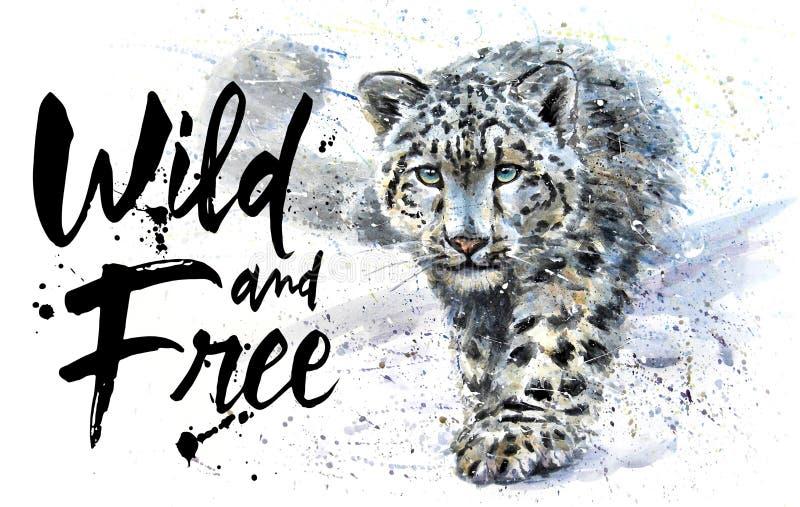 Het Wilde en Vrije de waterverf van de sneeuwluipaard schilderen, dierenroofdier, ontwerp van t-shirt, druk, de winter, koning va stock illustratie