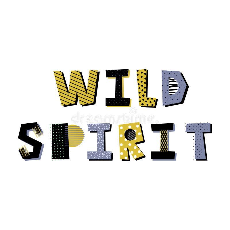 Het wilde geest creatieve van letters voorzien op witte achtergrond royalty-vrije illustratie