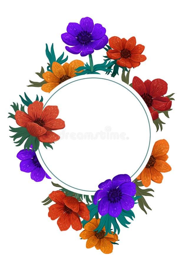 Het wilde kader van de bloemencirkel De digitale illustratie van het kleurenpotlood Verticaal Ontwerp met mooie anemonen en exemp stock illustratie