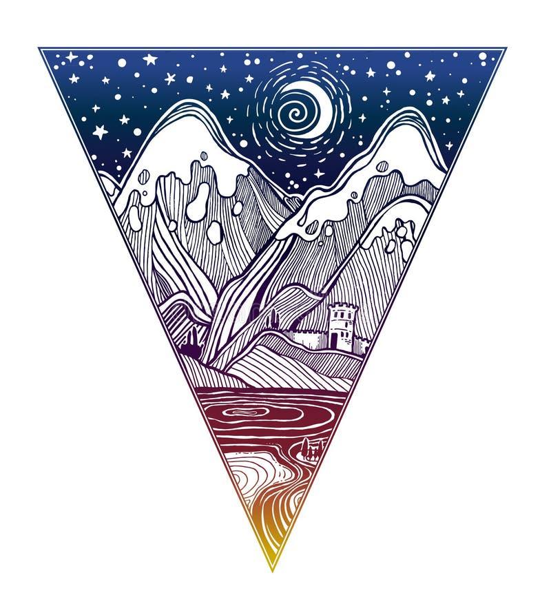 Het wilde lineaire landschap van de nachtaard met bergen vector illustratie