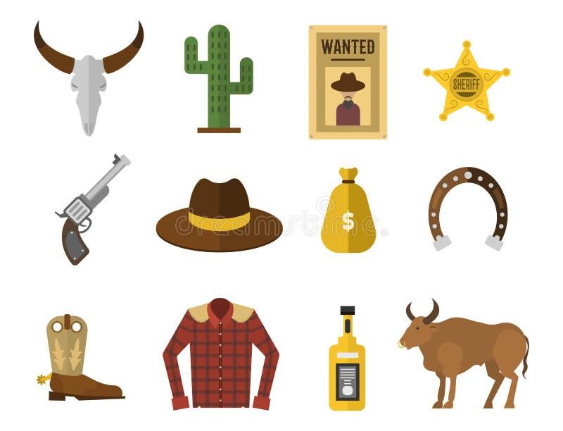 Het wilde materiaal van de de pictogrammenrodeo van de het westencowboy en velen verschillende westelijke toebehoren vectorillust royalty-vrije illustratie