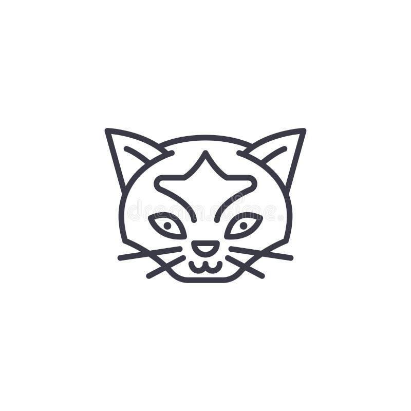 Het wilde pictogram van de katten hoofd vectorlijn, teken, illustratie op achtergrond, editable slagen royalty-vrije illustratie