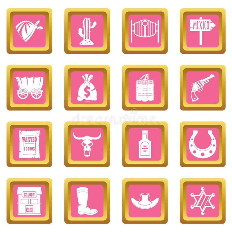 Het wilde roze van het westenpictogrammen stock illustratie