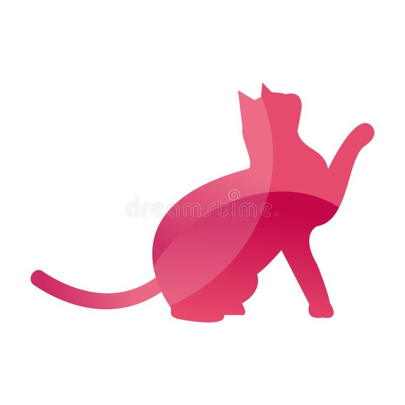 Het wilde silhouet van het het huisdierenembleem van de katten dierlijke wildernis van geometrisch veelhoek abstract karakter en  stock illustratie