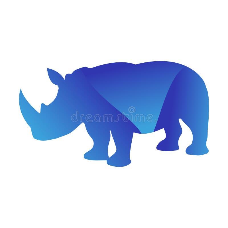 Het wilde silhouet van het het huisdierenembleem van de rinoceros dierlijke wildernis van geometrisch veelhoek abstract karakter  royalty-vrije illustratie