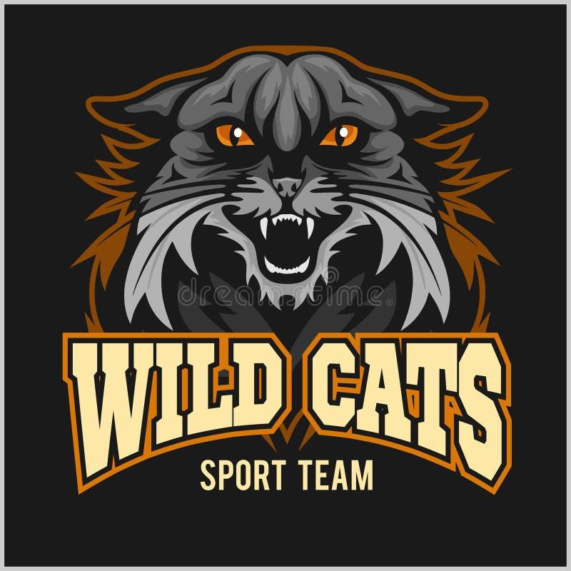 Het wilde team van de kattensport - logotype, embleem stock illustratie