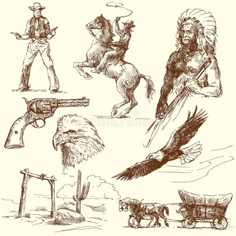 Het wilde westen vector illustratie