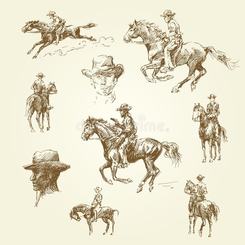 Het wilde westen stock illustratie
