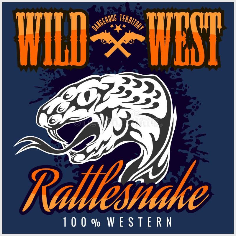 Het wilde westen en ratelslang - uitstekend vectorkunstwerk stock illustratie
