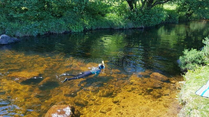 Het wilde zwemmen in een Dartmoor-rivierdartmoor het UK royalty-vrije stock foto's
