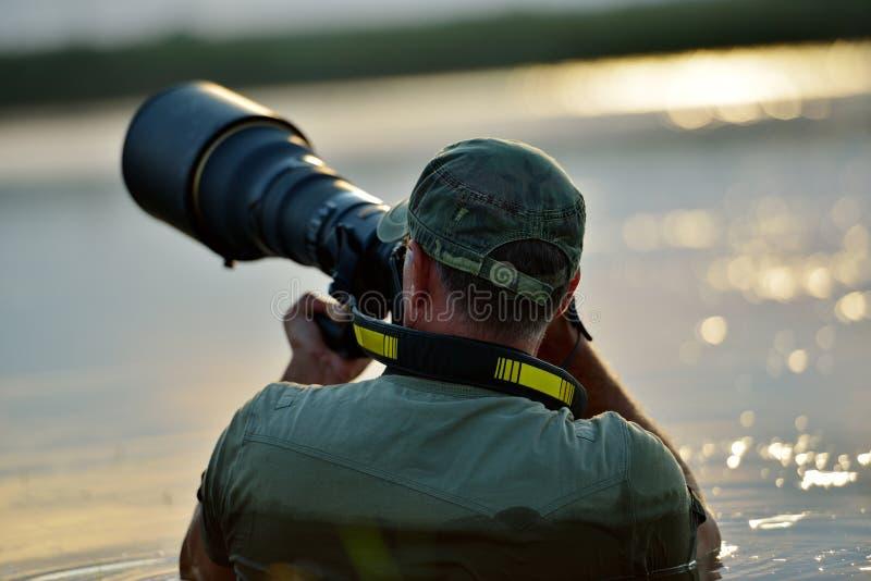 Het wildfotograaf openlucht, zich bevindt in het water royalty-vrije stock fotografie