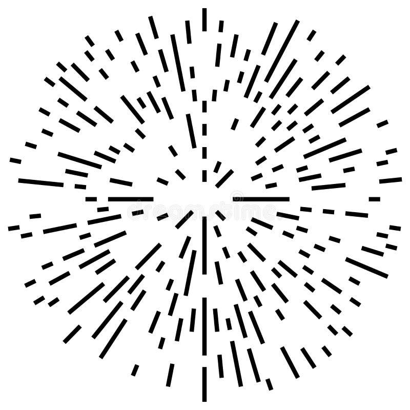 Het willekeurige radiale effect van de lijnenexplosie Het uitstralen van strepenrondschrijven royalty-vrije illustratie
