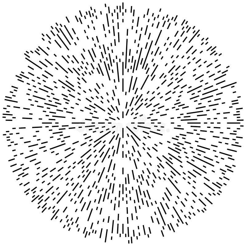 Het willekeurige radiale effect van de lijnenexplosie Het uitstralen van strepenrondschrijven vector illustratie