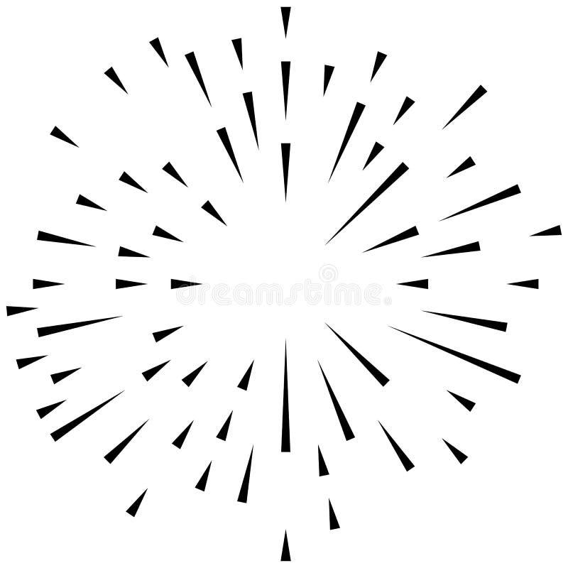 Het willekeurige radiale effect van de lijnenexplosie Het uitstralen van strepenrondschrijven stock illustratie