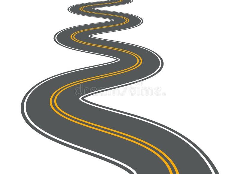 Het winden van asfalt van de de weg lange straat van de weg het vectorweg isoleerde de illustratie van de de manierreis van de pe vector illustratie