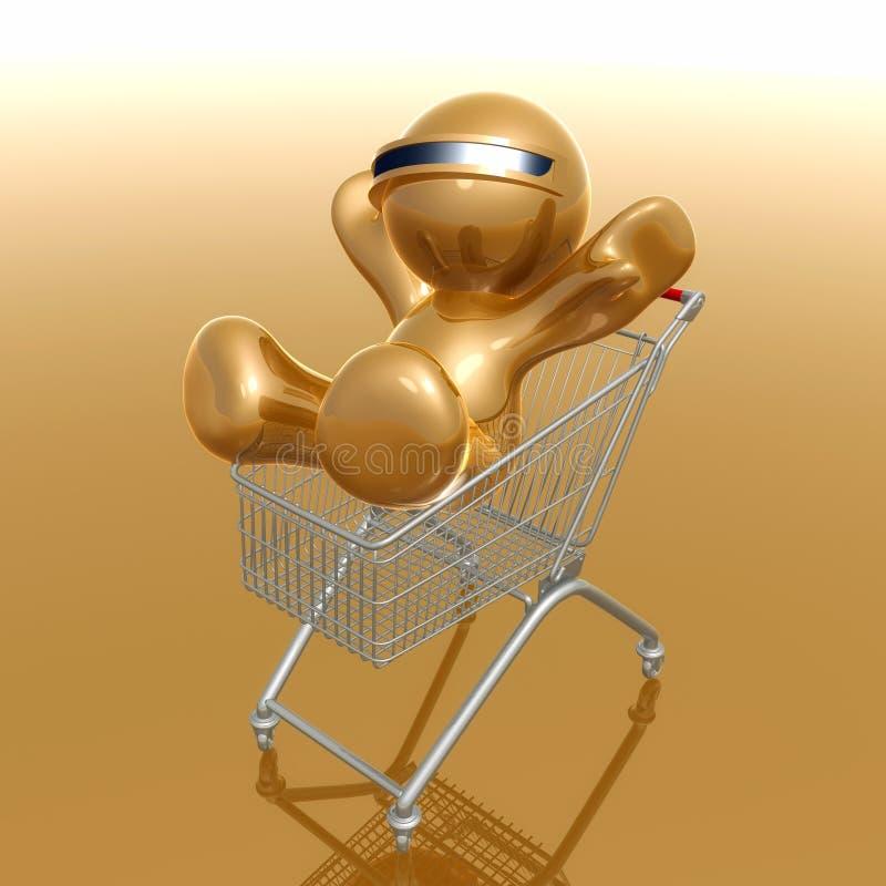 Het winkelen 3d humanoidpictogram royalty-vrije illustratie