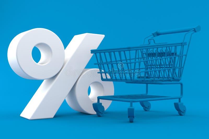 Het winkelen achtergrond met percentensymbool vector illustratie