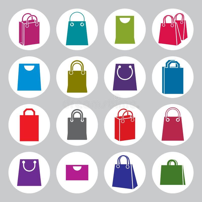 Het winkelen achterpictogrammen vectorreeks, het winkelen thema simplistisch symbool stock illustratie