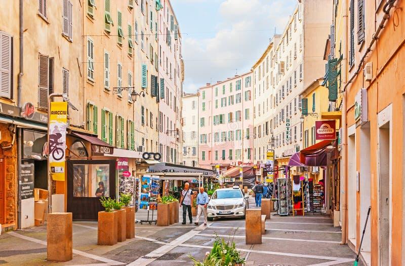 Het winkelen in Ajaccio stock foto's