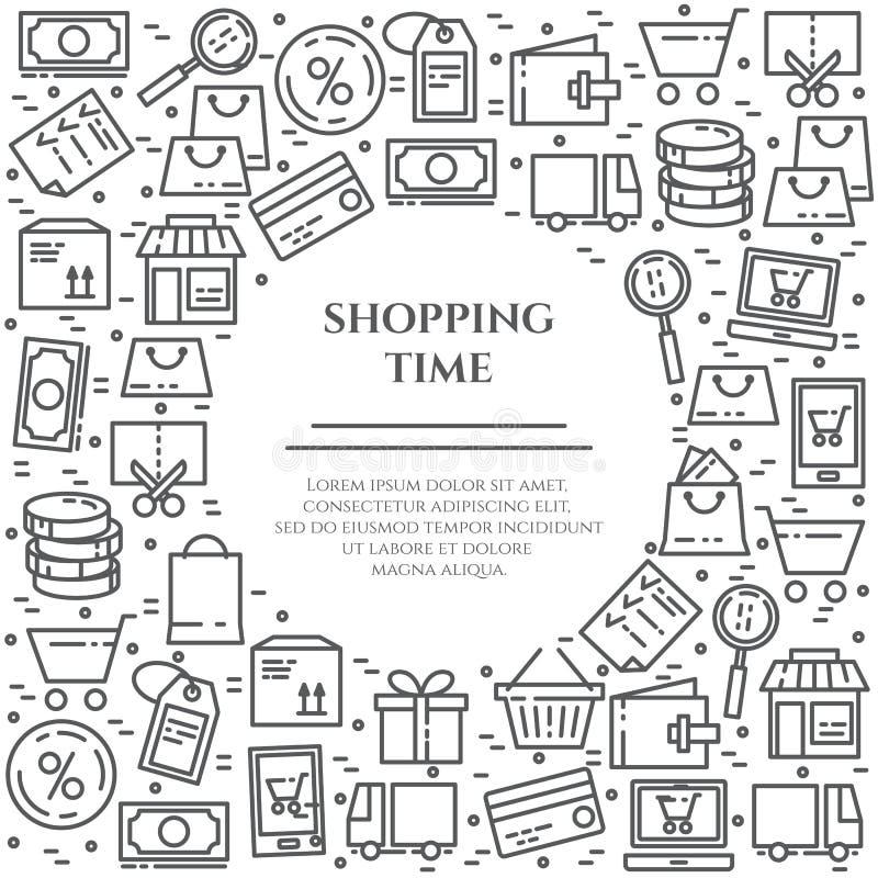 Het winkelen banner met lijnpictogrammen met editable slag in vorm van rechthoek met binnen cirkel vector illustratie