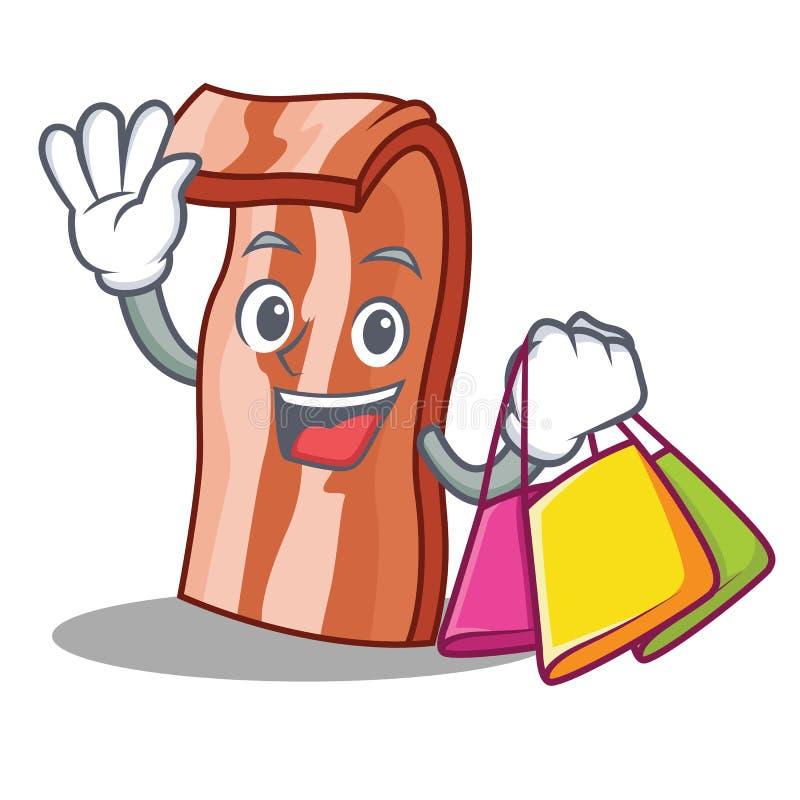 Het winkelen het beeldverhaalstijl van het baconkarakter royalty-vrije illustratie
