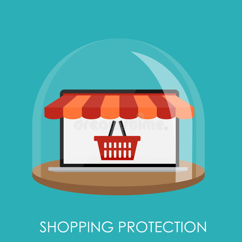 Het winkelen Beschermings Vlak Concept voor Mobiele Apps royalty-vrije illustratie
