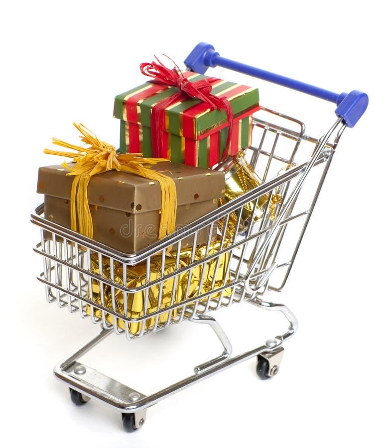 Het winkelen bij Kerstmis stock foto's