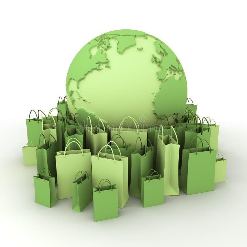 Het winkelen in bleek - groen vector illustratie