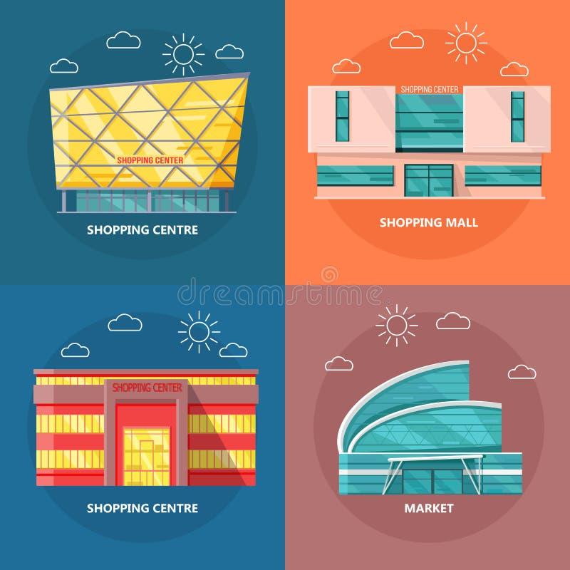 Het winkelen Centrumpictogram in Vlak Ontwerp wordt geplaatst dat royalty-vrije illustratie