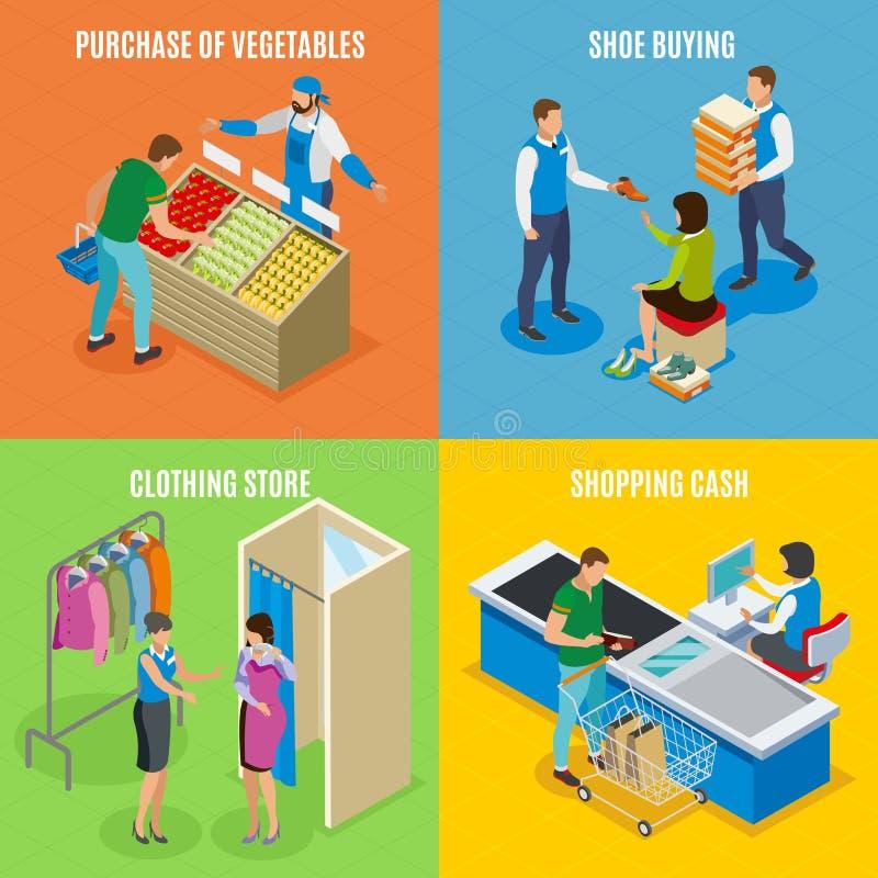 Het winkelen Concept van het Mensen het Isometrische Ontwerp vector illustratie