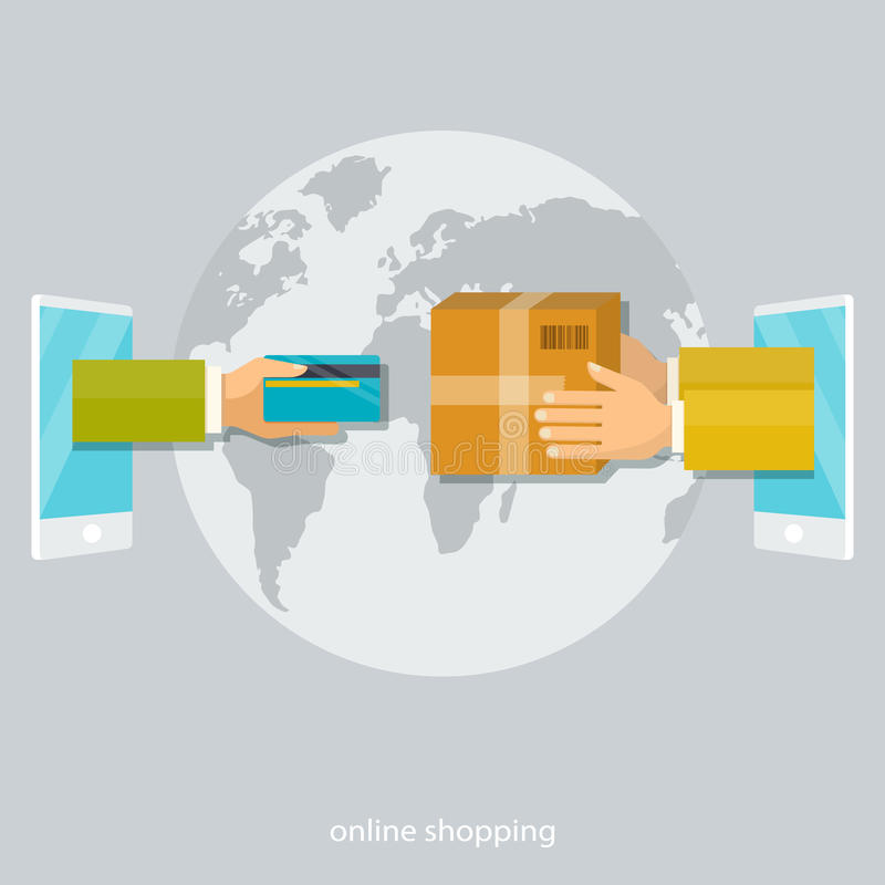 Het winkelen concepten, betaling met kaart, de leveringsdienst stock foto's