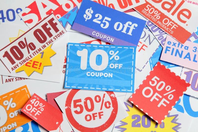 Het winkelen coupons stock foto's